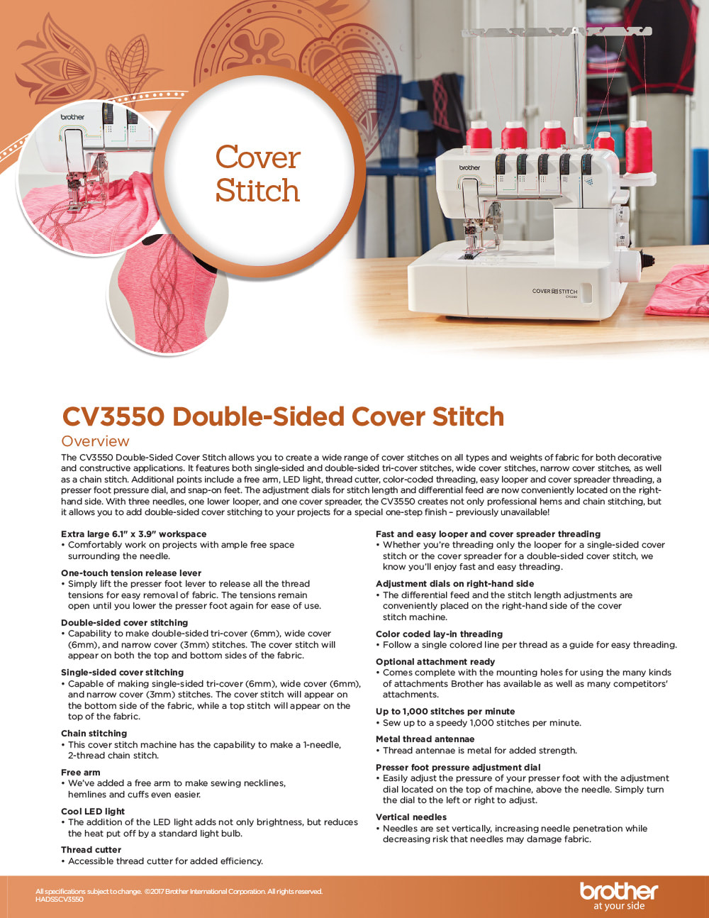Brother CV3550 Double Sided Cover Stitch Machine