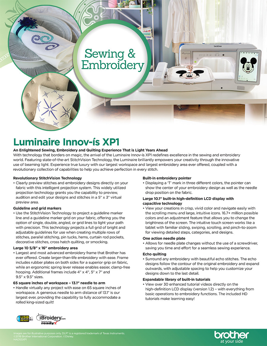 Luminaire Innov-is XP1 Sewing & Embroidery Machine