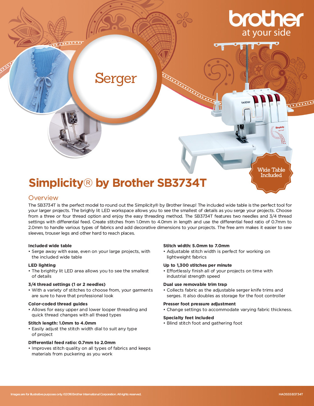 Brother Simplicity Brother SB3734T Serger
